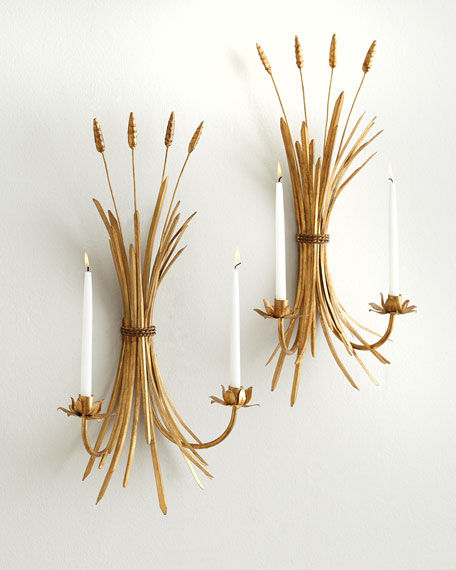 Neimanmarcus Two Wheat Candle Sconces