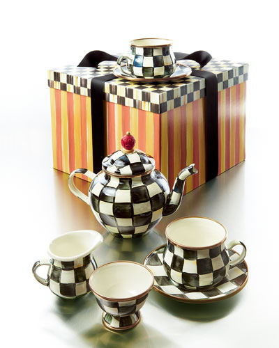 checkered tea pot set