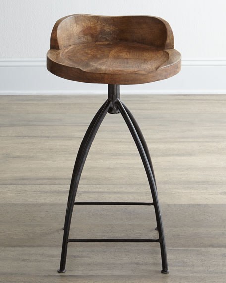 Image 1 of 5: Arteriors Wood Swivel Counter Stool