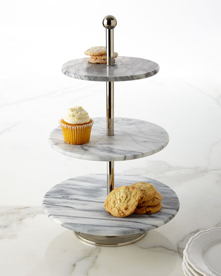 Godinger White Marble Three-Tier Server