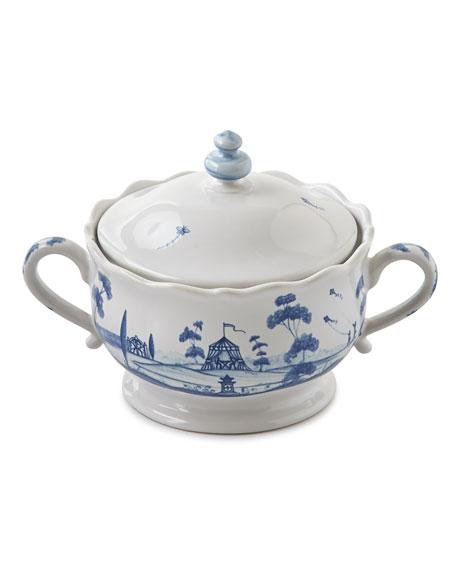 Juliska Country Estate Delft Blue Lidded Sugar/Jam Bowl Main House