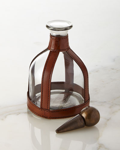 Faux-Leather Round Decanter
