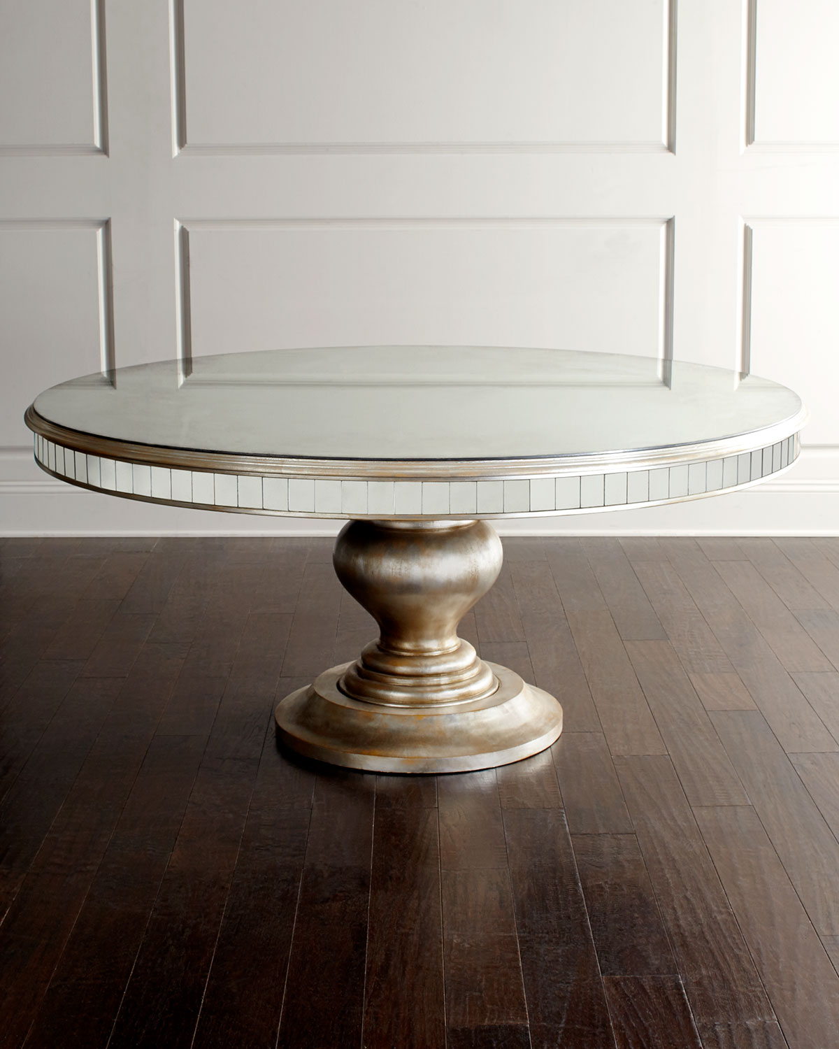 John Richard Collection Lisandra Antiqued Mirrored Round Dining Table Neiman Marcus