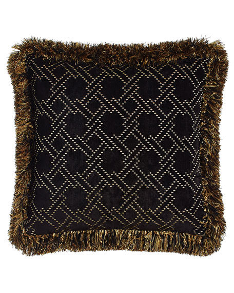 """Reversible Madagascar Pillow with Fringe, 18""""Sq."""
