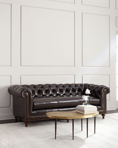 Massoud Davidson Slab-Seat Chesterfield Sofa