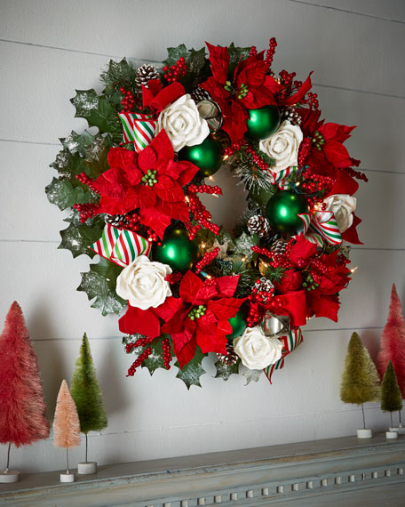 "Classic Red & Green Pre-Lit 28"" Christmas Wreath"