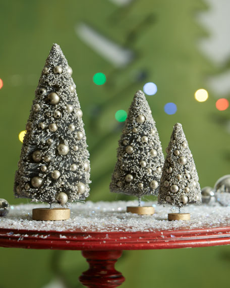 Silver/Gold Glitter Trees, 3-Piece Set