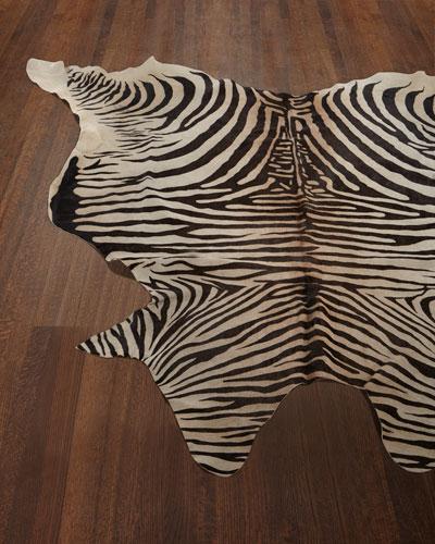 Lux Zebra-Print Hairhide Rug  6' x 7'
