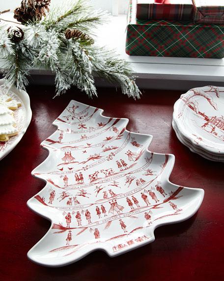 Juliska Country Estate Winter Frolic Merry Making Tree Platter