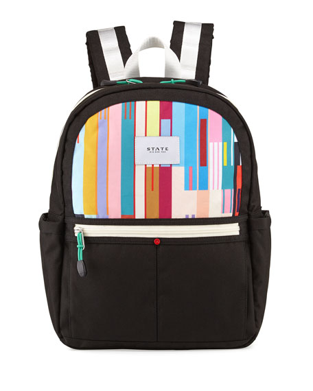 State Bags Kane Black & Custom Stripe Backpack