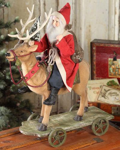 Vintage-Style Santa Riding Reindeer