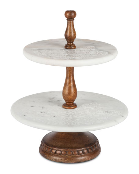 G G Collection 2-Tier Floral-Etched Marble Server