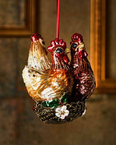 Jay Strongwater Three French Hens Glass Ornament