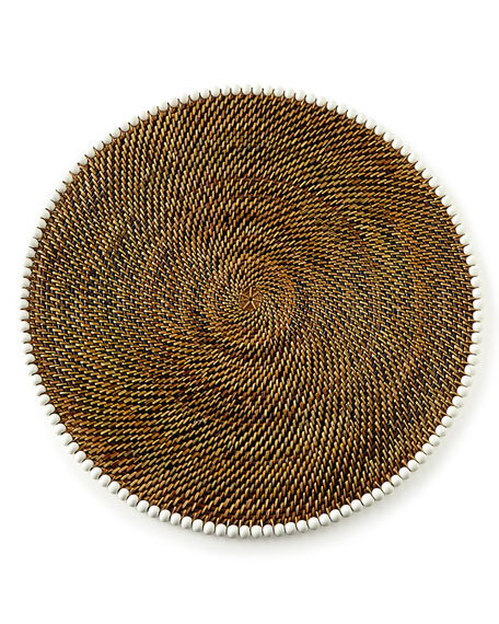 Four Round Bead-Rimmed Placemats