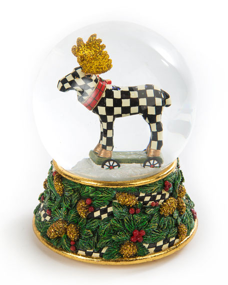 MacKenzie-Childs Moose on Parade Snow Globe