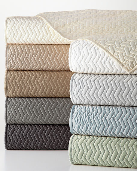 Queen Vannerie Quilted Satin Coverlet