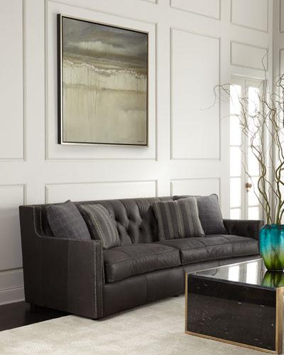 Madeline Tufted Leather Sofa 96