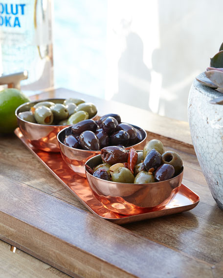 Godinger Copper Tray w/ Three Bowls