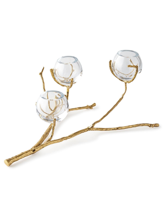 Twig Brass Three Vase Holder