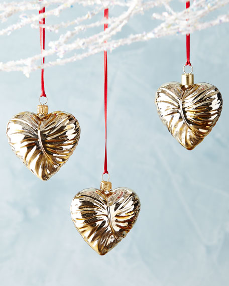 AERIN Ambroise Heart Ornaments, Set of 3