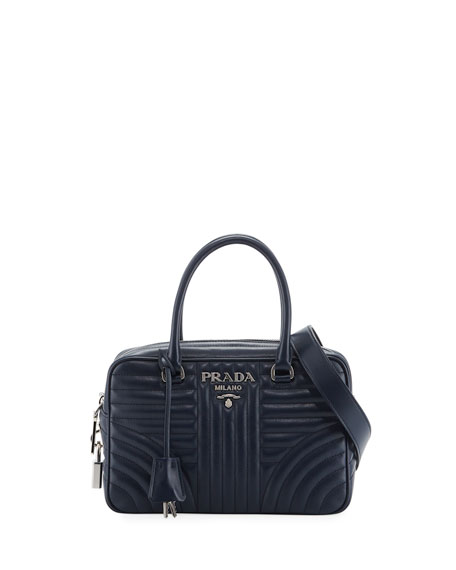 Prada Impunture Quilted Zip Top Duffle Bag