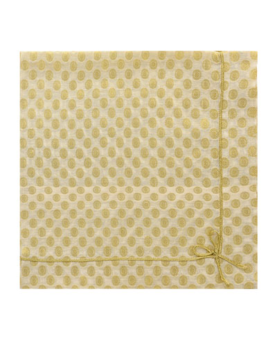 Cute as Bow Floral Napkin  Gold/White