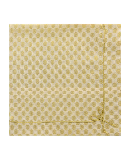 Nomi K Cute as Bow Floral Napkin, Gold/White