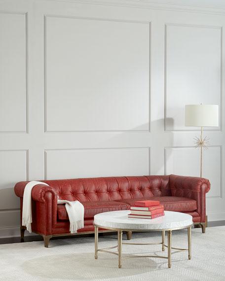 "Maurice Tufted Leather Sofa 95"""