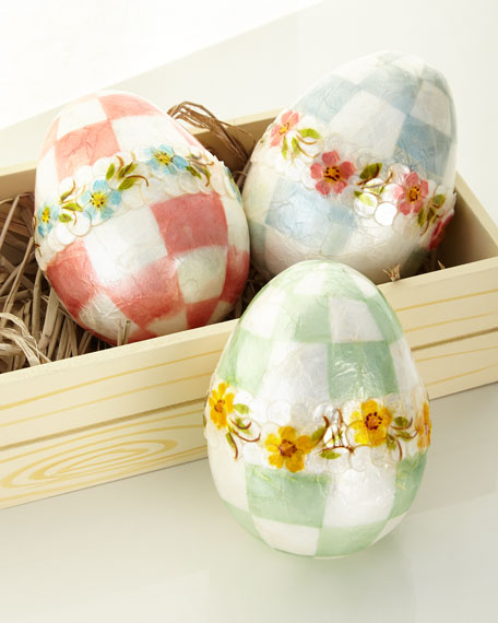 MacKenzie-Childs Pastel Large Floral Eggs, Set of 3