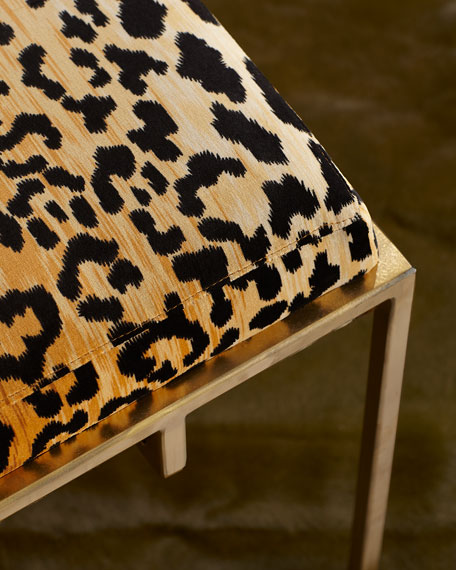 Gold Metal and Leopard Ottoman