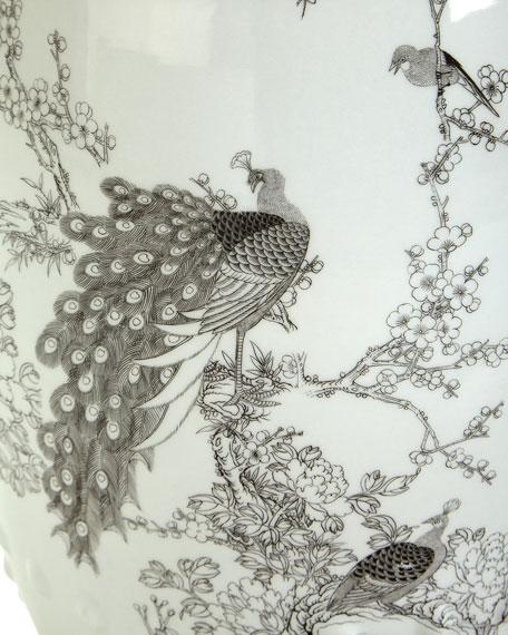 Garden Stool with Peacock Motif