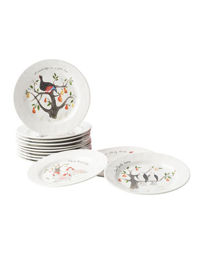 Twelve Days of Christmas Cocktail Plate Set  Set of 12