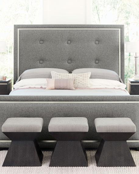 Bernhardt Decorage Tufted Stainless-Trim Queen Bed