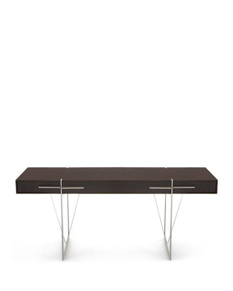 Rowan Leather & Stainless Steel Writing Desk