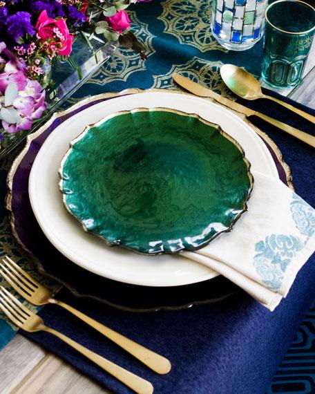 Vietri Pastel Glass Salad Plate, Emerald
