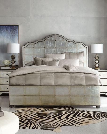 Donna Karan Home Reflection King Jacquard Stripe Duvet Cover