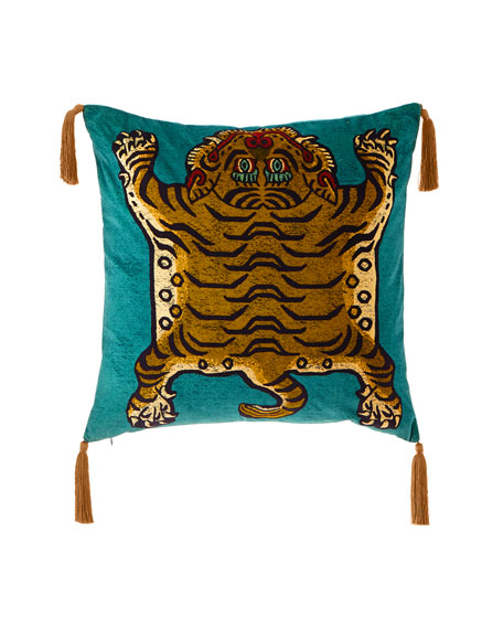 Image 1 of 3: House of Hackney Saber Teal Large Velvet Pillow