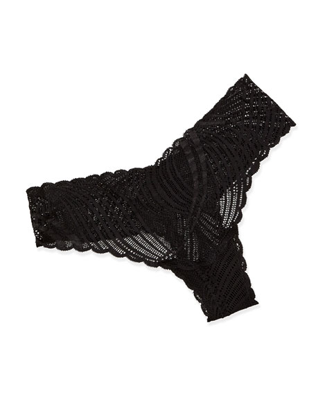 Minoa Low-Rise Lace Thong, Black