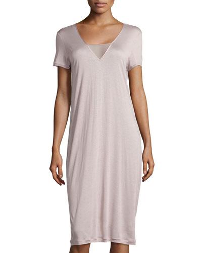 Umbria Short-Sleeve Gown, Maple Sugar