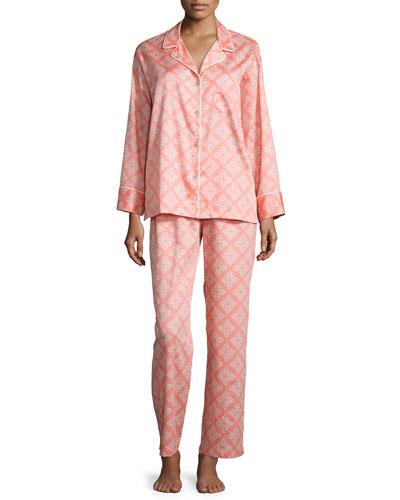 Marcella Medallion-Print Knit Pajama Set, Coral