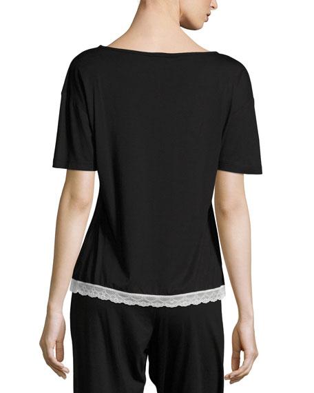 Cosabella Majestic Lace-Trim Lounge Top, Black/White