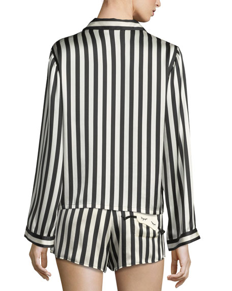 Image 3 of 3: Morgan Lane Ruthie Long-Sleeve Striped Silk Pajama Top
