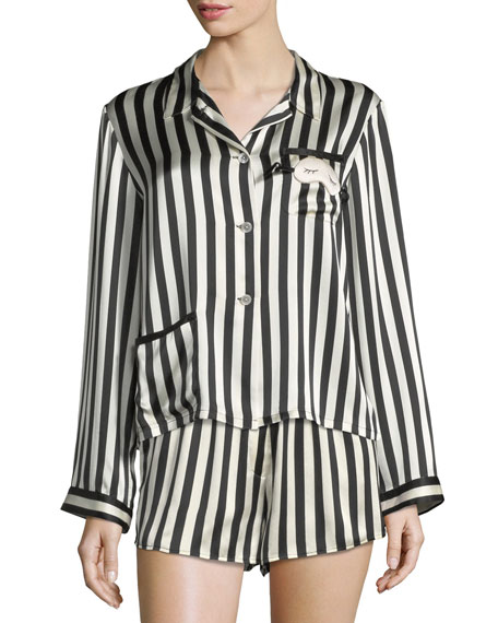 Image 1 of 3: Morgan Lane Ruthie Long-Sleeve Striped Silk Pajama Top
