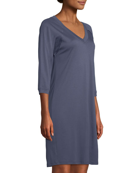 Image 3 of 3: Hanro Pure Essence 3/4-Sleeve Gown