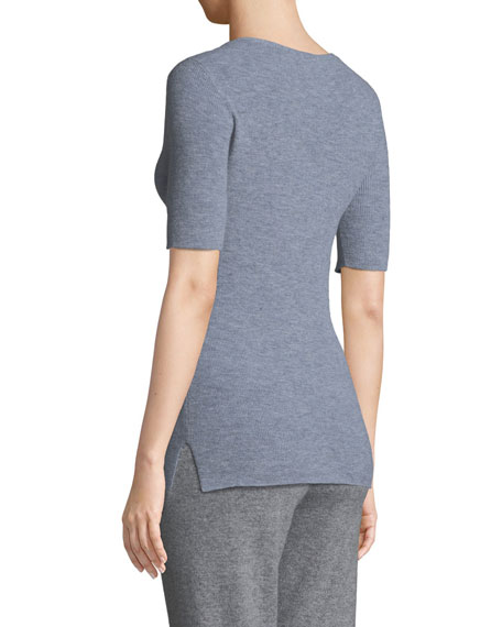Cashmere Short-Sleeve Lounge Top