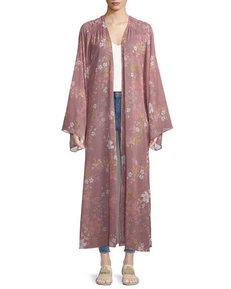 Prima Floral-Print Long Kimono