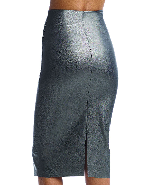 Faux-Leather Midi Skirt