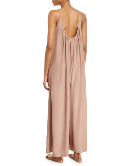 Image 2 of 2: Wide-Leg Silk Charmeuse Jumpsuit