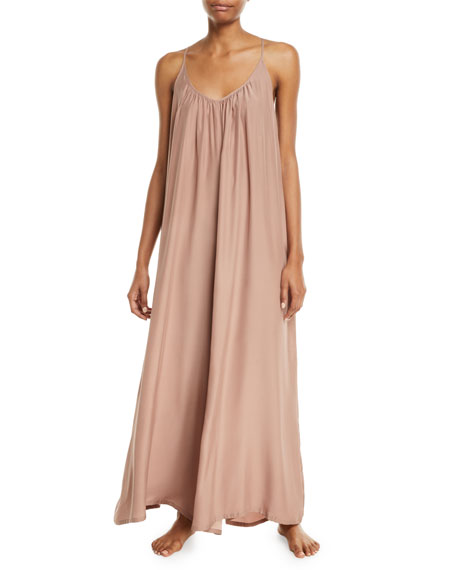 Image 1 of 2: Wide-Leg Silk Charmeuse Jumpsuit