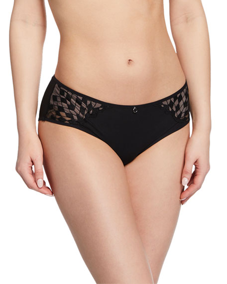 Chantelle Wagram Lace-Inset Bikini Briefs